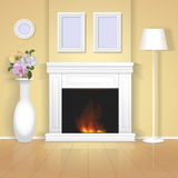 Classic interior with fireplace illustration. Realistic home design royalty free illustration