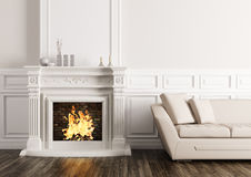 Classic interior with fireplace and sofa 3d render. Classic interior of living room with fireplace and beige sofa 3d render Royalty Free Stock Photos