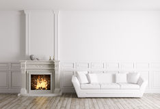 Classic interior with fireplace and sofa 3d render. Classic interior of living room with fireplace and white sofa 3d render Royalty Free Stock Photography