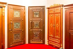 Classic interior and front wooden doors Royalty Free Stock Photography