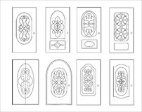 Classic interior and front wooden doors - simple  for your design. Icon set isolated on white Royalty Free Stock Photo