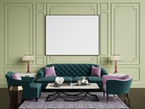 Classic interior in green and pink colors.Sofa,chairs,sidetables with lamps,table with decor.Olive color walls with vector illustration