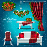 Classic interior of the hall with Christmas decor Stock Photos