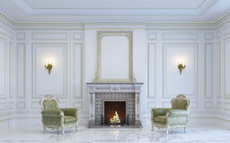A classic interior is in light tones with fireplace . 3d render. A classic interior is in light tones with fireplace and armchairs. 3d render Stock Photos