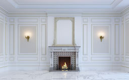 A classic interior is in light tones with fireplace. 3d rendering. Royalty Free Stock Image