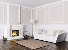 Classic interior of living room with sofa and fireplace 3d rende. Classic interior design of living room with white sofa and  fireplace 3d render Royalty Free Stock Photography