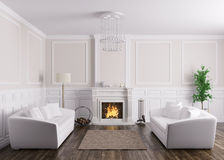 Classic interior of living room with sofas and fireplace 3d rend. Classic interior design of living room with two white sofas and  fireplace 3d render Royalty Free Stock Photography