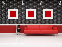Classic interior with modern red couch Royalty Free Stock Photos