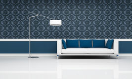 Classic interior with modern white and blue sofa Royalty Free Stock Image