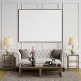 Classic interior in pastel colors with blank frame on the wall Royalty Free Stock Photo