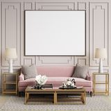 Classic interior in pastel colors with blank frame on the wall Stock Photos