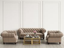 Classic interior in pastel colors. Sofa,armchairs,table with decor. Royalty Free Stock Photography