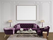 Classic interior in purple,pink and goldcolors.Sofa,chairs,sidetables with lamps,table with decor.White color walls with moulding. S,frame with blank list on the royalty free illustration