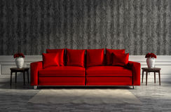 Classic interior with a red sofa. 3d illustration Stock Photo