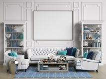 Classic interior room in blue and white colors with copy space. Sofa and chairs,sidetables with lamps,table with decor,cabinets with books and decor. Interior royalty free illustration