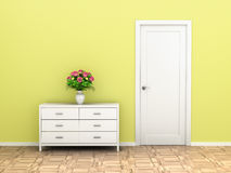 Classic interior of a room with door. And chest of drawers Royalty Free Stock Photos