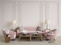Classic interior.Sofa,chairs,sidetables with lamps,table with deco Stock Photo