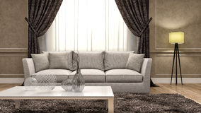 Classic interior with sofa. 3d illustration Royalty Free Stock Images