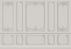 Classic interior wall with mouldings stock photos