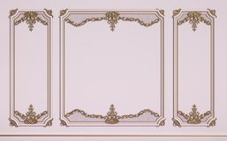 Classic interior walls with copy space.Pink walls with gilded mo. Uldings. Digital Illustration.3d rendering Royalty Free Stock Image