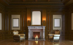 A classic interior with wood paneling and fireplace. 3d render. Royalty Free Stock Image