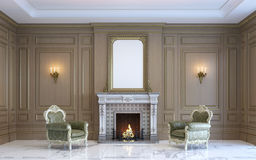 A classic interior with wood paneling and fireplace. 3d render. A classic interior with wood paneling, by art frames and armchairs near the fireplace. 3d render Stock Image