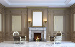 A classic interior with wood paneling and fireplace. 3d render. A classic interior with wood paneling, by art frames and armchairs near the fireplace. 3d render Royalty Free Stock Photo