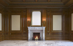 A classic interior with wood paneling and fireplace. 3d rendering. A classic interior with wood paneling and a picture frame above the fireplace. 3d rendering Stock Image