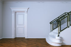 Classic interior with wooden door and marble staircase. 3d rende Royalty Free Stock Image