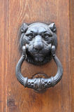 Classic iron knocker on wooden door Royalty Free Stock Images