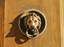 Classic iron knocker on wooden door Stock Image