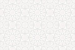 Classic Islamic seamless beige pattern vector traditional line texture with flower and leaf. Graphic illustration geometric arabic