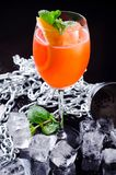Classic Italian Aperol Spritz cocktail consisting of prosecco, aperitif and soda water with orange slice, fresh mint Royalty Free Stock Photo