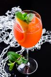 Classic Italian Aperol Spritz cocktail consisting of prosecco, aperitif and soda water with orange slice, fresh mint Stock Images