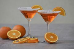 Classic Italian Aperol Spritz cocktail in martini glass. stock image