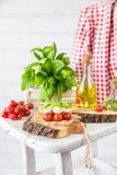 Classic Italian Caprese Canapes Salad With Tomatoes, Mozzarella And Fresh Basil Stock Photography