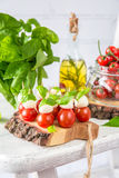 Classic Italian Caprese Canapes Salad With Tomatoes, Mozzarella And Fresh Basil royalty free stock photo