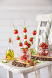 Classic Italian Caprese Canapes Salad With Tomatoes, Mozzarella And Fresh Basil Royalty Free Stock Photos