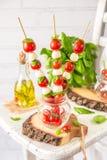 Classic Italian Caprese Canapes Salad With Tomatoes, Mozzarella And Fresh Basil Royalty Free Stock Image