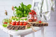 Classic Italian Caprese Canapes Salad With Tomatoes, Mozzarella And Fresh Basil royalty free stock photos