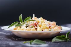 Classic italian lunch with Gnocchi with sage, butter and Parmesan shavings stock images