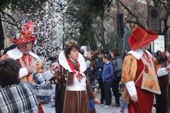 Classic italian masks at carnival parade of Verona. Carnival parade in Verona city, Italy Stock Image