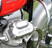 Classic italian motorcycle engine and tank Stock Photos