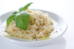 Classic Italian Risotto with Basil Stock Photos