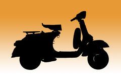 Classic Italian scooter as Silhouette Stock Image