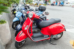 Classic Italian Vespa scooters stands parked Royalty Free Stock Photos