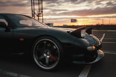 Classic japan sport car. On sunset Stock Image