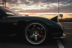 Classic japan sport car. On sunset Royalty Free Stock Photo