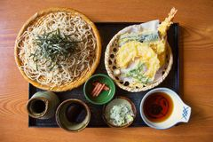Classic Japanese dish Zaru Soba. Classic Japanese dish Zaru Soba is a chilled noodle dish made from buckwheat flour and served with soy sauce and various stock photo