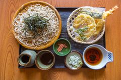 Classic Japanese dish Zaru Soba. Classic Japanese dish Zaru Soba is a chilled noodle dish made from buckwheat flour and served with soy sauce and various royalty free stock photo